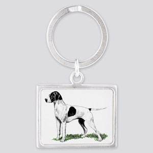 english pointer portrait Landscape Keychain