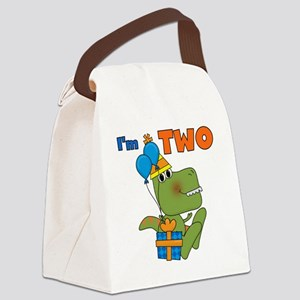 Little Dino 2nd Birthday Canvas Lunch Bag