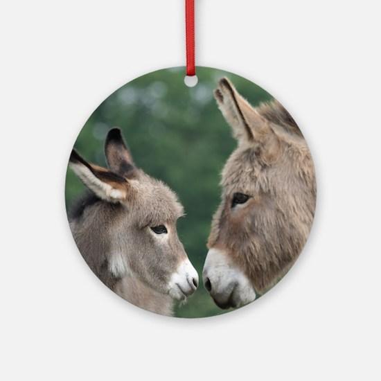 Donkey clock Round Ornament