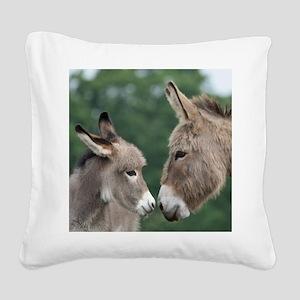 Donkey clock Square Canvas Pillow