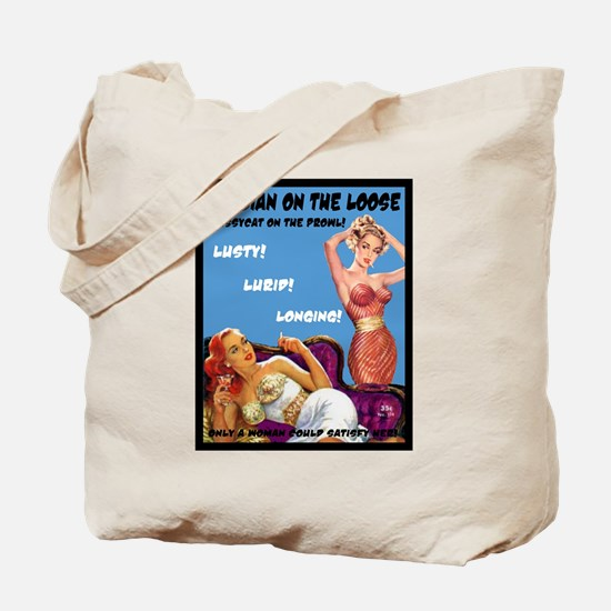 Lesbian Lust Gay Pulp Fiction Image Pin Up Tote Ba