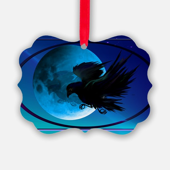 Wall Peel Raven Oval Ornament