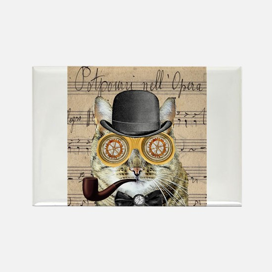 Victorian Steampunk Cat Derby Hat Pipe Collage Mag