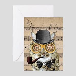 Victorian Steampunk Cat Derby Hat Pipe Collage Gre