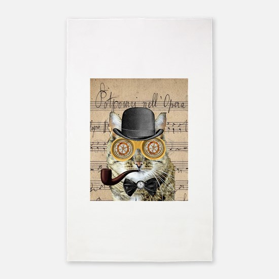 Victorian Steampunk Cat Derby Hat Pipe Collage 3'x