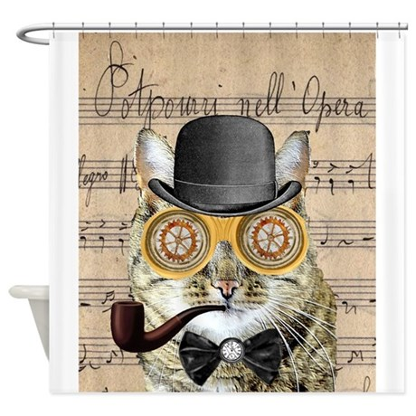 sc 1 st  CafePress & Victorian Steampunk Cat Derby Hat Pipe Collage Sho by fringepop