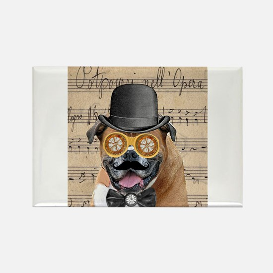 Victorian Steampunk Boxer Dog Collage Magnets