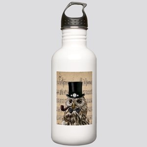 Victorian Steampunk Owl Sheet Music Water Bottle