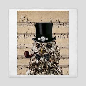 Victorian Steampunk Owl Sheet Music Queen Duvet