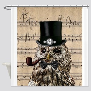 Victorian Steampunk Owl Sheet Music Shower Curtain
