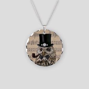 Victorian Steampunk Owl Sheet Music Necklace