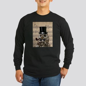 Victorian Steampunk Owl Sheet Music Long Sleeve T-