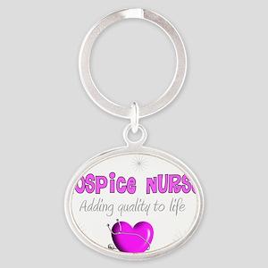 Hospice Nurse PINK HEART Oval Keychain