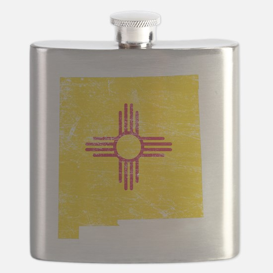 New Mexico Flag Map Flask