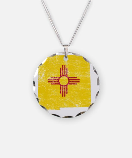 New Mexico Flag Map Necklace Circle Charm