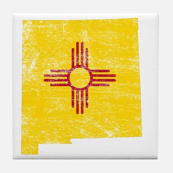 New Mexico Flag Map Tile Coaster