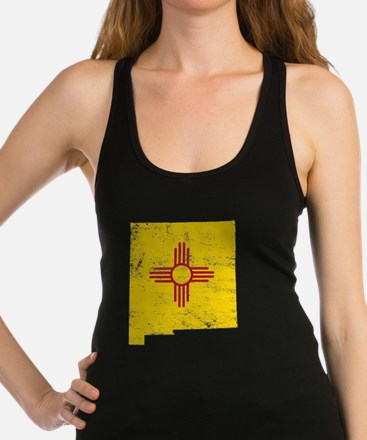 New Mexico Flag Map Racerback Tank Top