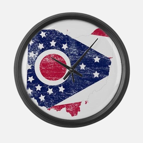 Ohio Flag Map Large Wall Clock