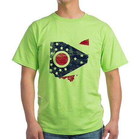 Ohio Flag Map Green T-Shirt
