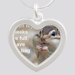 Chipmunk bag 2 Silver Heart Necklace