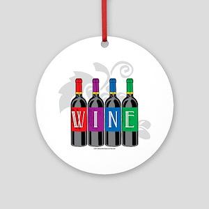 Wine-Bottles Round Ornament