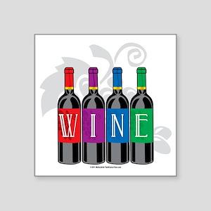 "Wine-Bottles Square Sticker 3"" x 3"""