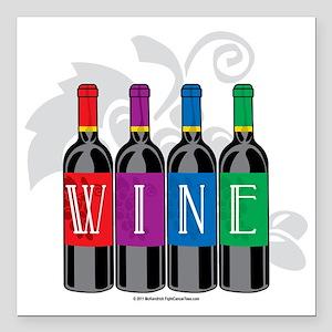 "Wine-Bottles Square Car Magnet 3"" x 3"""