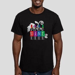 Wine-Bottles Men's Fitted T-Shirt (dark)