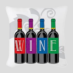 Wine-Bottles Woven Throw Pillow