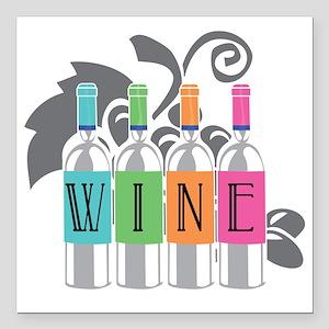 """Wine-Bottles-blk Square Car Magnet 3"""" x 3"""""""