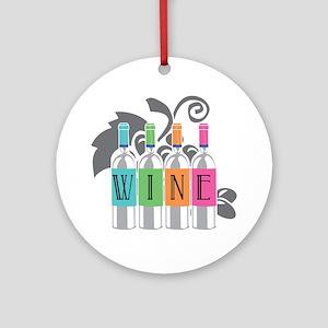 Wine-Bottles-blk Round Ornament