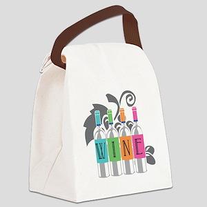Wine-Bottles-blk Canvas Lunch Bag