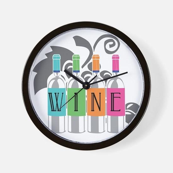 Wine-Bottles-blk Wall Clock
