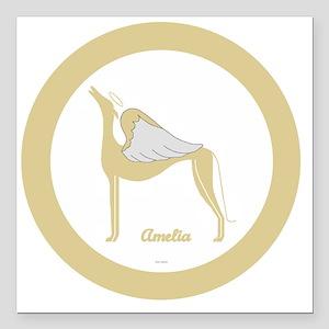 "AMELIA ANGEL GREY gold r Square Car Magnet 3"" x 3"""