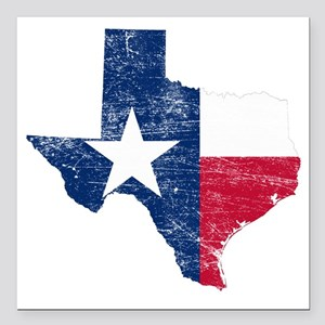 "Texas Flag Map Square Car Magnet 3"" x 3"""
