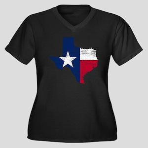 Texas Flag M Women's Plus Size Dark V-Neck T-Shirt
