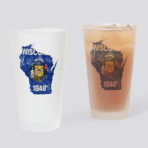 Wisconsin Flag Map Drinking Glass