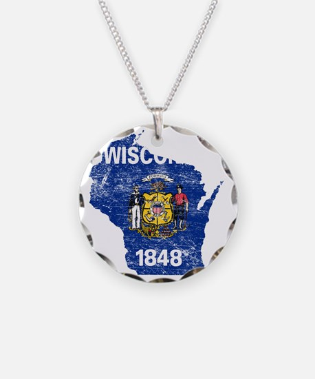 Wisconsin Flag Map Necklace
