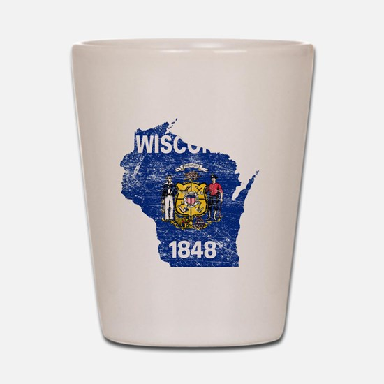 Wisconsin Flag Map Shot Glass