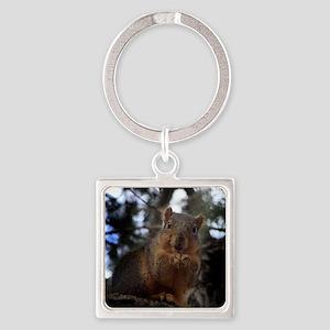 Fox squirrel smiling Square Keychain