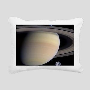 Saturn,_Earth_size_compa Rectangular Canvas Pillow