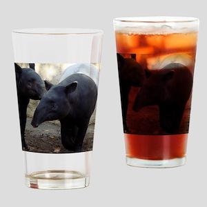 Two Malayan Tapirs Drinking Glass