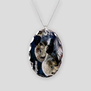 Otter keyring Necklace Oval Charm