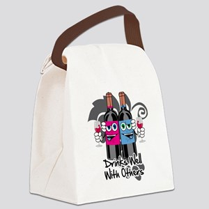 Drinks-Well-With-Others-blk Canvas Lunch Bag