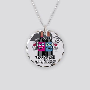 Drinks-Well-With-Others-blk Necklace Circle Charm