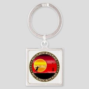 june11_putt_plastic_red_sun Square Keychain
