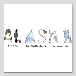 "The Great Land - Color Square Car Magnet 3"" x 3"""