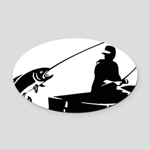 fishing2D Oval Car Magnet