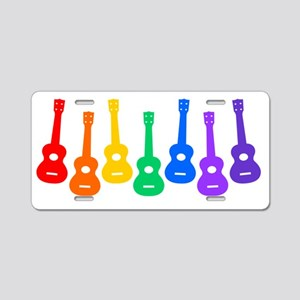 Ukulele Rainbow Aluminum License Plate