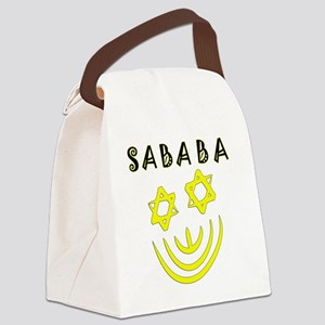 Yellow and Black Sababa Face Canvas Lunch Bag